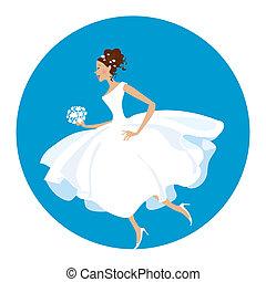 新娘, 是, 匆忙地