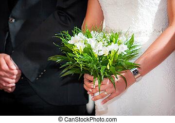 新娘, 由于, 新郎, 藏品, a, 婚禮花束