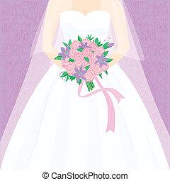 新娘, 由于, 花束