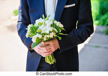 新娘, 由于, a, 婚禮花束, ......的, 白色