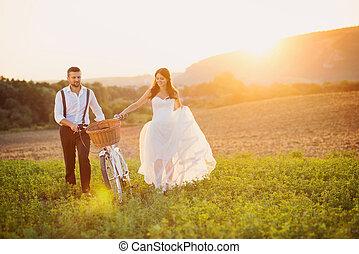 新娘, 白色, 新郎, 自行車, 婚禮