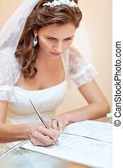 新娘, 簽署, 文件, 年輕, 婚禮