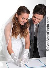 新娘, 簽署, 新郎, 婚姻, 合同