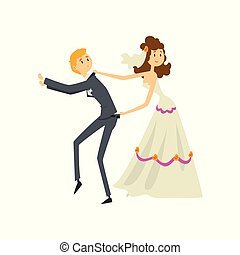 新婚者, 彼女, 恋人, 花婿, イラスト, 花嫁, ベクトル, 背景, 処理, 白, 漫画