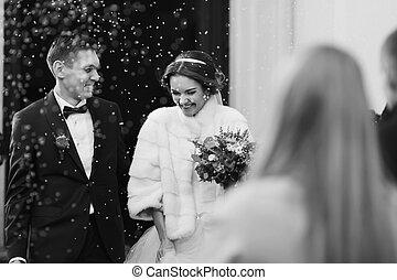 新婚者, 微笑, 下に, ∥, 雨, の, 米