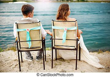 新婚者, 恋人, ロマンチック, 若い
