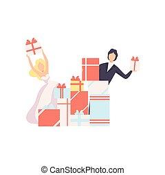 新婚者, 贈り物, 恋人, イラスト, 箱, ベクトル, 背景, 白