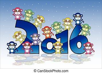 新年おめでとう, カード, ∥で∥, サル