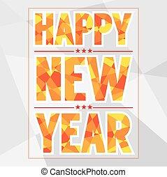 新年おめでとう, カード, 多角形, style.