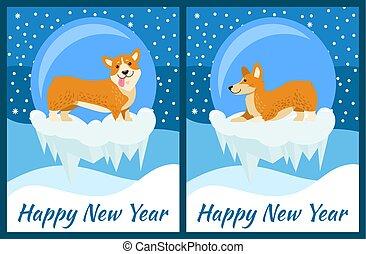 新年おめでとう, グリーティングカード, ∥で∥, かわいい, corgi, 犬