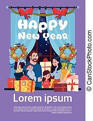 新年おめでとう, グリーティングカード, ∥で∥, イメージ, の, 若い 家族, 一緒に, ∥で∥, プレゼント, 箱, 親, そして, 子供, 上に, メリークリスマス, ポスター