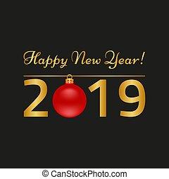 新年おめでとう, グリーティングカード, 上に, 黒, バックグラウンド。