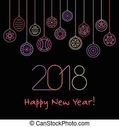 新年おめでとう, ネオン, ベクトル, デザイン
