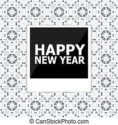 新年おめでとう, レタリング, 挨拶, card., 写真フレーム