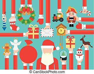 新年おめでとう, 概念, デザイン, 平ら, ∥で∥, サンタクロース