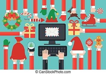 新年おめでとう, 現代, デザイン, 平ら, オンラインで, 発送, letter.