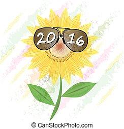 新年おめでとう, 2016, ひまわり, ∥で∥, サングラス, イラスト, 夏, 明るい, 自然, 植物相, 美しい, 白