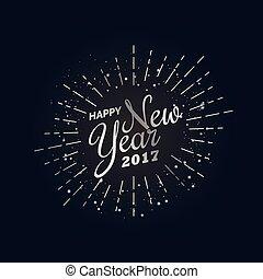 新年おめでとう, 2017, デザイン, テンプレート, 中に, 銀, スタイル
