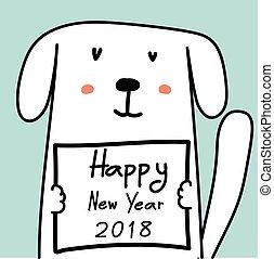 新年おめでとう, 2018, カード, ∥で∥, かわいい, dog.