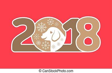 新年おめでとう, 2018, カード, ∥で∥, 犬