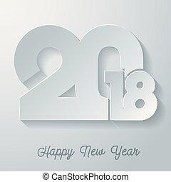 新年おめでとう, 2018, 白, 紙カード, 背景