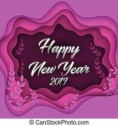新年おめでとう, 2019, カラフルである, ペーパー, 切口, グリーティングカード, 背景, design., ベクトル, イラスト