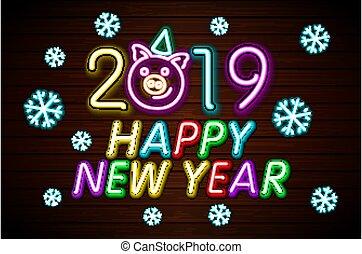 新年おめでとう, 2019, デザイン, テンプレート, vector., 豚, グリーティングカード, ライト, 旗, ネオン, style., ベクトル, イラスト