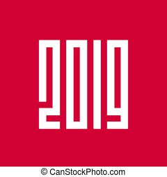 新年おめでとう, 2019, ピクセル, 芸術, スタイル, ベクトル, イラスト, デザイン