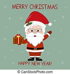 新年快樂, 以及, 歡樂的聖誕節, 問候, card., 漂亮, 聖誕老人, 在, 眼鏡, 握住, a, 箱子, 由于, a, 冬天, 禮物, 上, the, 背景, ......的, snowflakes., 卡通, 風格, 矢量