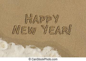 新年快樂, 沙子, 寫
