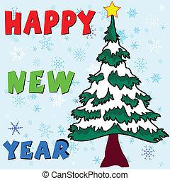 新年快樂, 由于, 圣誕樹, 矢量