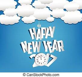 新年快樂, 2017, 雲, 以及, 天空