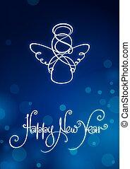新年, カード, 幸せ