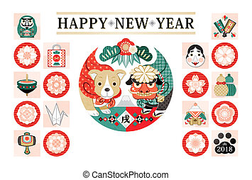 新年, カード, 2018, 犬, デザイン