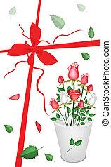 新年, ギフトカード, ∥で∥, a, 美しい, rose's, 花束