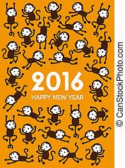 新年, サル, イラスト