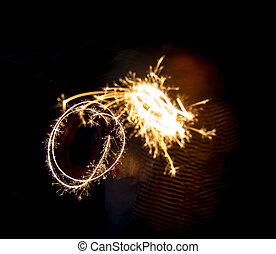 新年, パーティー, 花火