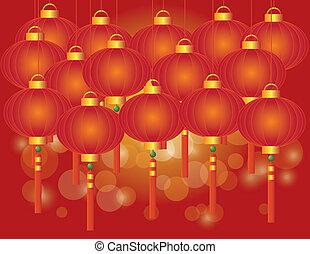 新年, 中国語, 背景, ランタン