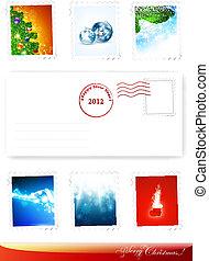 新年, 以及, 聖誕節, poststamps