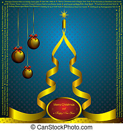 新年, 卡片, 带, 圣诞节, 愿望