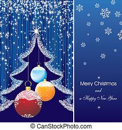 新年, 卡片, 星, 在中, 蓝色