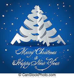 新年, 卡片, 由于, 圣誕樹