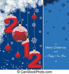 新年, 卡片, 2012, 在中, 蓝色