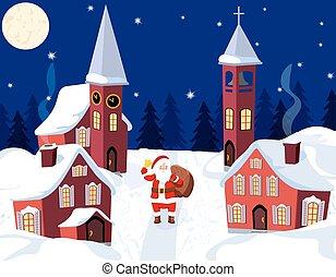 新年, 圣誕節。, an, 圖像, ......的, 聖誕老人, claus., 冬天, 城市, 上, 新年, s, eve., 插圖