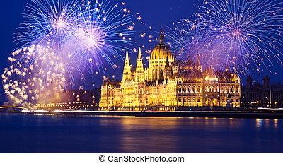 新年, 在城市, -, 布達佩斯, 由于, 煙火