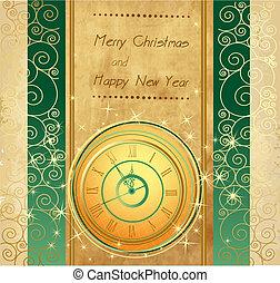 新年, 幸せ, 背景, cloc