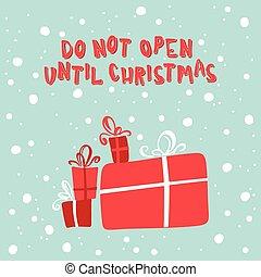 新年, 插圖, 由于, a, 圖片, ......的, 聖誕節 禮物, 上, a, 多雪, 背景。
