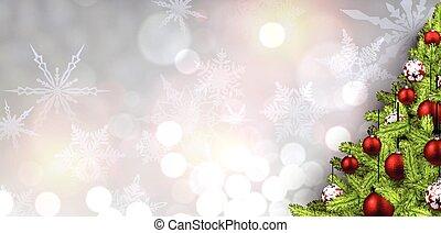 新年, 旗幟, 由于, 聖誕節, 樹。