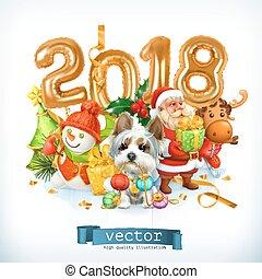 新年, 犬, ベクトル, イラスト