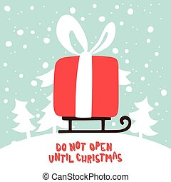 新年, 賀卡, 由于, a, 圖片, ......的, 圣誕節禮物, 上, sled.
